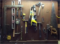 Pegboard of Tools, Level, Bolt Cutters