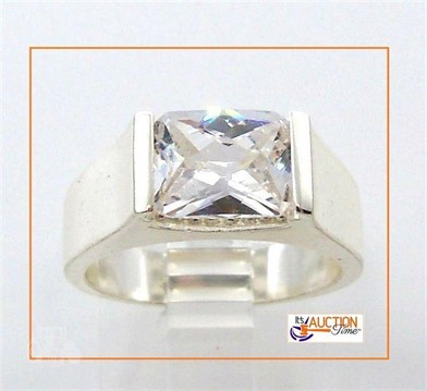 Solid Ring Sterling Silver Rectangle Faceted Gem Other Items For