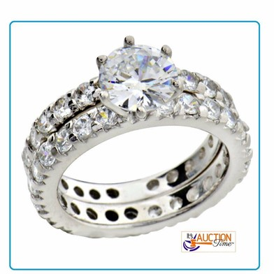 3.5CT STERLING SILVER WEDDING RING SET SIZE 8 Other Items