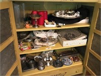 Misc Contents in Pie Safe Incl Silver Plate