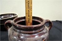 """USA Brown Pottery 9"""" bowl & Bean Pot"""