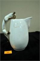 Stoneware Pitcher w/Cat Handle