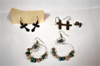 4 pr Assorted Pierced Earrings, 1 Sterling