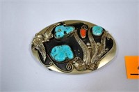 Genuine Turquoise and Coral Belt Buckle