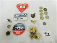 Collection of Pins, Tokens, Buttons; Tax Tokens
