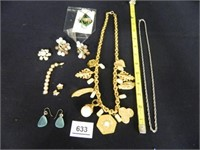 Necklace w/gold tone chain; Chain; Clip-On Earring