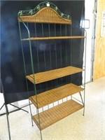 Green Metal Shelf w/leaf design & Wicker Shelves