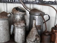 Oil cans, funnels