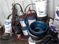 Barrel pumps, Chevron engine Oil, Quaker Supreme