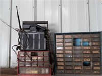 Bolt bins with contents: assorted Hardware,