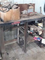 Industrial workbench, box of parts and pieces,