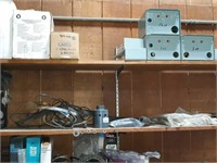 Contents of workbench and shelving, electrical