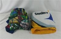 Pair Of Fleece Throws Steelers & Teenage Turtles