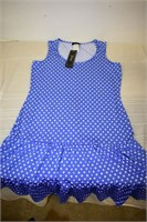 MSK Blue Polka Dot Dress Size Large