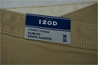 Izod Men's Stretch Twill Slim Fit Pants 36x30