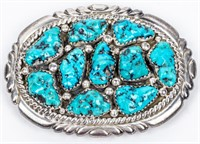 Jewelry Sterling Silver Turquoise Belt Buckle