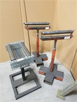 Three Metal Adjustable Feed/ Rolling Stands.