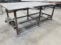 Large Steel Work Bench Table. Very Heavy And