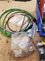 Assorted electronic components, resistors and D