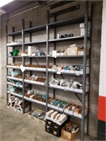 Metal shelving with all contents including panel