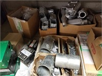 Two shelf lot of assorted electrical, conduit