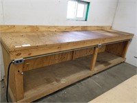 Long all wood work bench. Measurements on  final