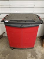 """Resin KETER rolling work cart with storage. 33"""" x"""