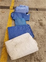 Four Various Size And Colour Tarps. Largest White