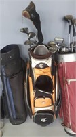 Golf Lot! 3 Golf Bags With Pull Carts And Clubs