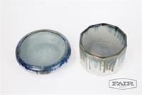 Zanesville Blue Drip Glaze Pottery Bowls