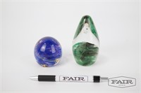 2 Glass Paperweights from Ireland