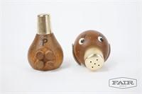 2 Salt and Pepper Wooden Figurines