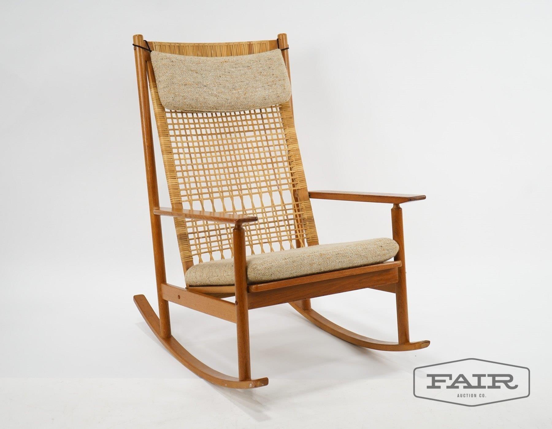 online retailer fa5cd 384e9 Danish Teak Cane Rocking Chair Attrb Hans Olsen | Fair ...