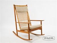 Peachy Danish Teak Cane Rocking Chair Attrb Hans Olsen Fair Andrewgaddart Wooden Chair Designs For Living Room Andrewgaddartcom