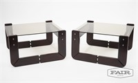 Pair of Percival Lafer Smoke Glass End Tables