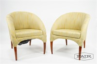 Pair of Italian Upholstered Lounge Chairs