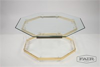 Regency Lucite Brass and Glass Coffee Table