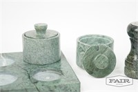 Set of 4 Green Marble Condiment Holders