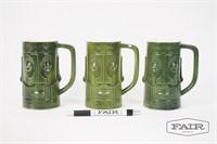 Lot of 3 Green Tiki Mugs