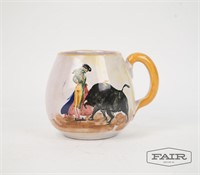 Painted Mug with Bullfighter Design, Signed
