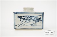 Rectangular Vase with Painted Fish