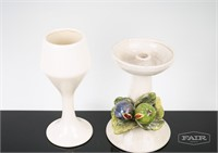 2 White Ceramic Votives