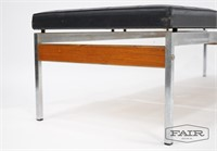 3 Seat Bench with Chrome Legs and Black Vinyl