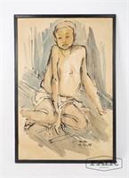 Watercolor Portrait of Boy on Paper