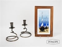 Painted Sailboat Tile and Spiral Candle Holders
