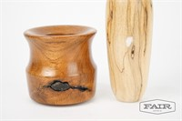 Hand Carved Small Vase and Candle Holder