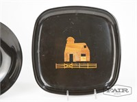 Couroc Plate and Dish with Barn and Fence