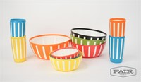 Set of 7 Colorful Bowls and 4 Matching Tumblers