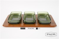Digsmed Danish Serving Tray w/ Green Glass Dishes