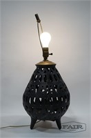 Dark Pottery Lamp with Shade